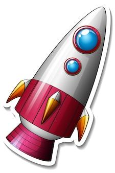 Um modelo de adesivo com rocket space cartoon isolado Vetor grátis