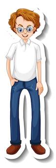 Um modelo de adesivo com um homem nerd em pose de pé