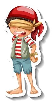 Um modelo de adesivo com um menino pirata com os olhos vendados isolado