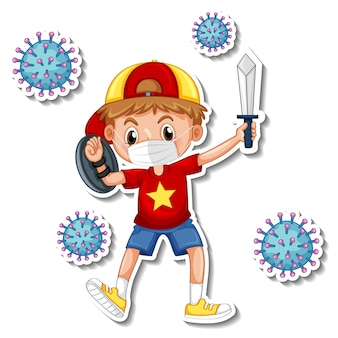 Um modelo de adesivo com um menino usando máscara médica personagem de desenho animado