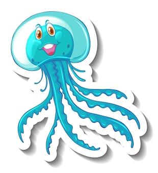 Um modelo de adesivo com um personagem de desenho animado de medusa fofa