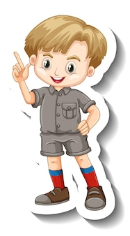 Um modelo de adesivo com um personagem de desenho animado de menino em traje de safári