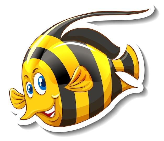 Um modelo de adesivo com um personagem de desenho animado de peixe fofo