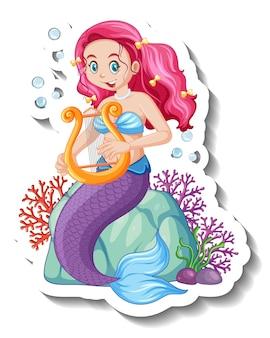 Um modelo de adesivo com um personagem de desenho animado de sereia fofa