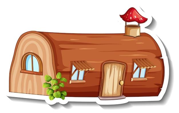 Um modelo de adesivo com uma casa de toras de fantasia isolada