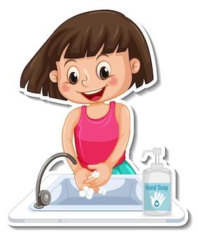 Um modelo de adesivo com uma garota lavando as mãos com sabão