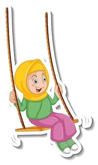 Um modelo de adesivo com uma garota muçulmana brincando de personagem de desenho animado