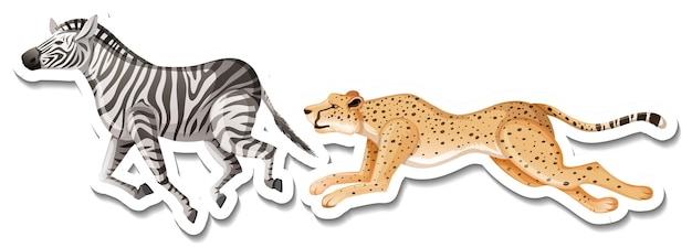 Um modelo de adesivo de leopardo e zebra