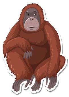 Um modelo de adesivo de personagem de desenho animado de macaco