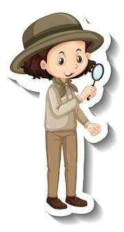 Um modelo de adesivo de personagem de desenho animado de menina