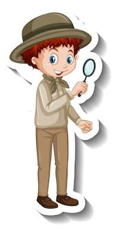 Um modelo de adesivo de personagem de desenho animado de menino
