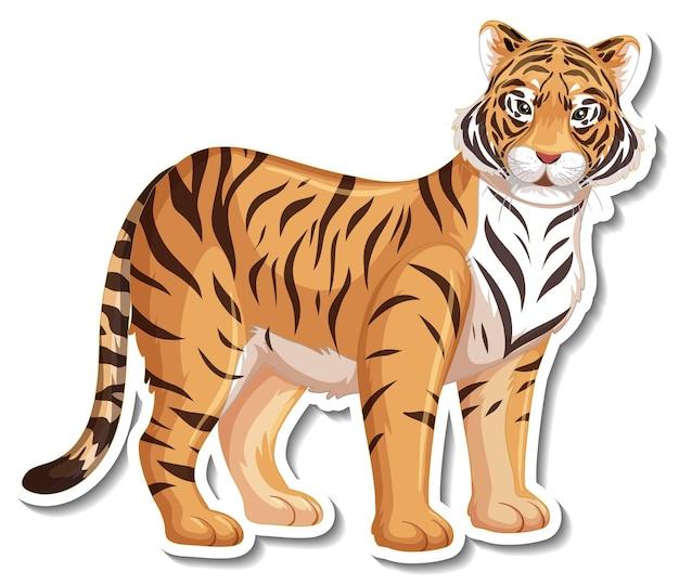 Um modelo de adesivo de personagem de desenho animado de tigre