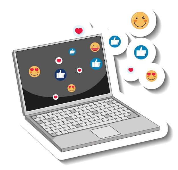 Um modelo de adesivo de um laptop com ícone de emoji social