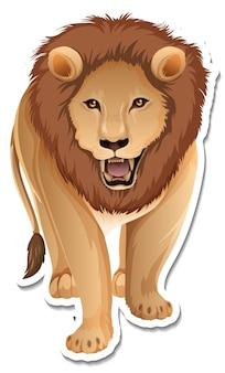 Um modelo de adesivo de um personagem de desenho animado de leão