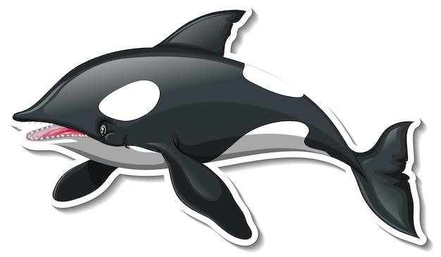 Um modelo de adesivo do personagem de desenho animado de uma baleia assassina