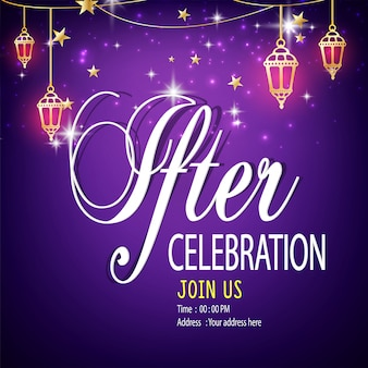 Um modelo de cartão de convite linda ou panfleto para celebração de jantar iftar e festa