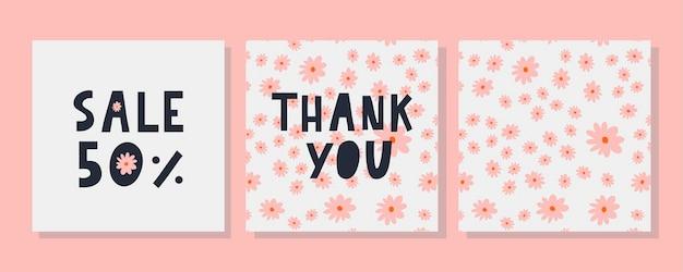 Um modelo de cartão de felicitações com uma carta de decoração floral