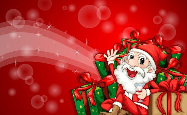 Um modelo de cartão de natal cintilante com papai noel