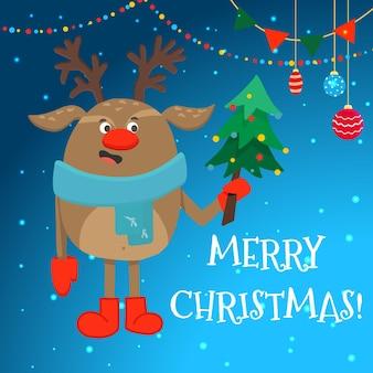Um modelo de cartão de natal com uma rena de feliz natal em um lenço e uma árvore de natal.