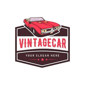 Um modelo de design de logotipo clássico ou vintage ou carro retrô