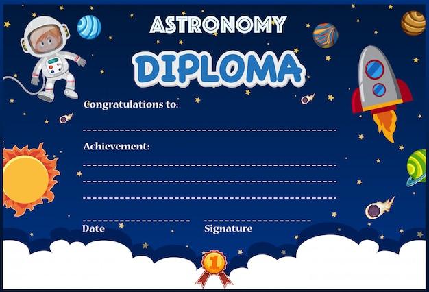 Um modelo de diploma de astronomia