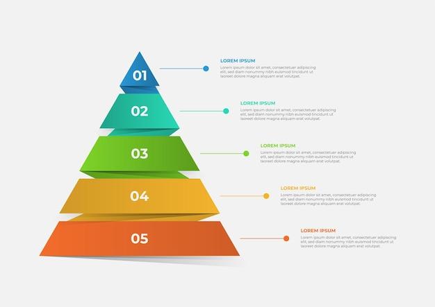 Um modelo de infográfico de linha do tempo moderno em forma de pirâmide dividido em cinco partes