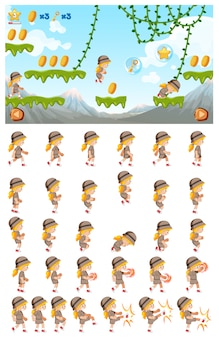 Um modelo de jogo de salto na selva