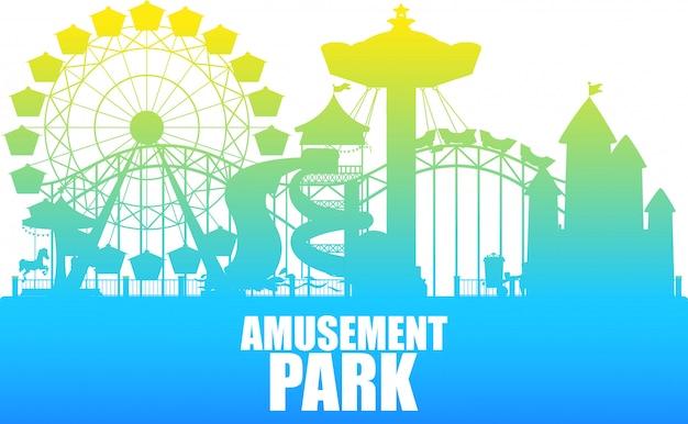 Um modelo de parque de diversões de silhueta de cor