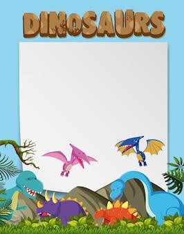 Um modelo de vários dinossauros do planeta