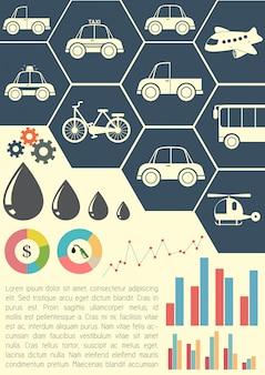 Um modelo gráfico mostrando os meios de transporte