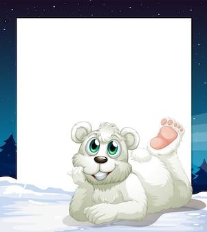 Um modelo vazio com um urso polar sorridente na parte inferior