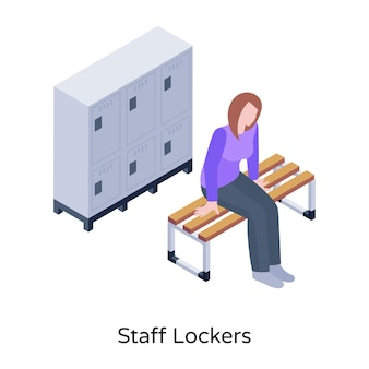 Um moderno armário isométrico para funcionários