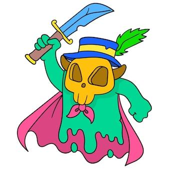 Um monstro assustador carregando uma longa espada com uma cara de caveira, arte de ilustração vetorial. imagem de ícone do doodle kawaii.