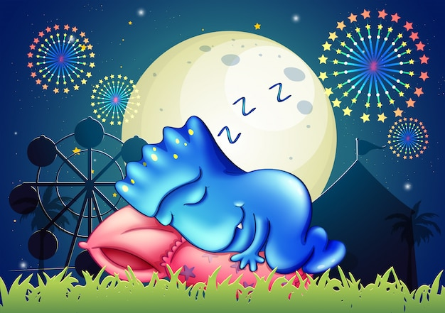Um monstro dormindo acima do travesseiro no parque de diversões