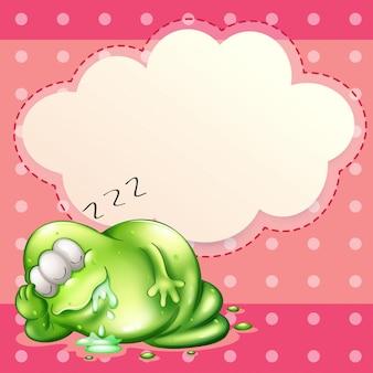 Um monstro dormindo e salivando com um modelo de nuvem vazia