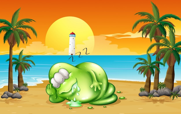 Um monstro dormindo profundamente na praia