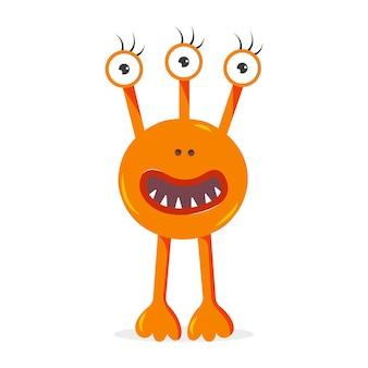 Um monstro laranja com três olhos ilustração em vetor personagem de desenho animado bonito para crianças