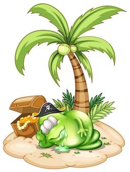 Um monstro pirata dormindo sob o coqueiro