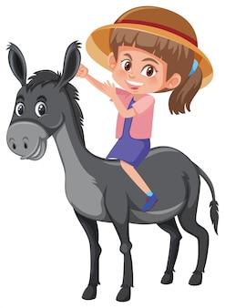 Um, montando, burro menina
