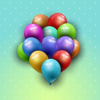 Um monte de balões em um fundo de bolinhas