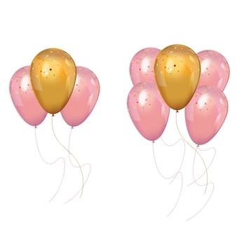 Um monte de balões realistas de rosa e ouro