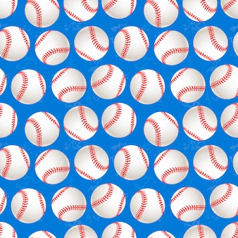 Um monte de bolas de beisebol no padrão sem costura de fundo azul