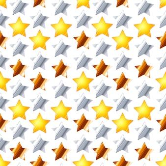 Um monte de estrelas de ouro, prata e bronze em branco, sem costura padrão