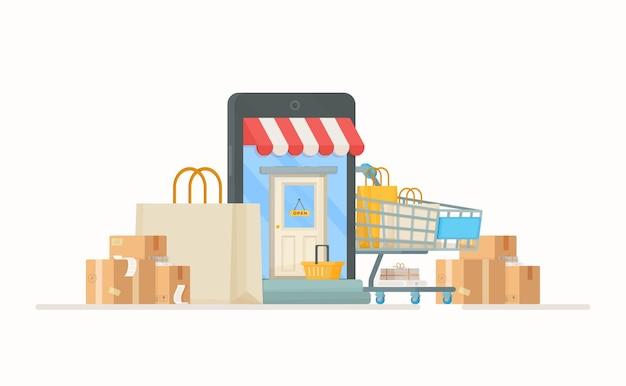 Um monte de sacolas e caixas na entrada da loja. ilustração de compra de bens. compras online.