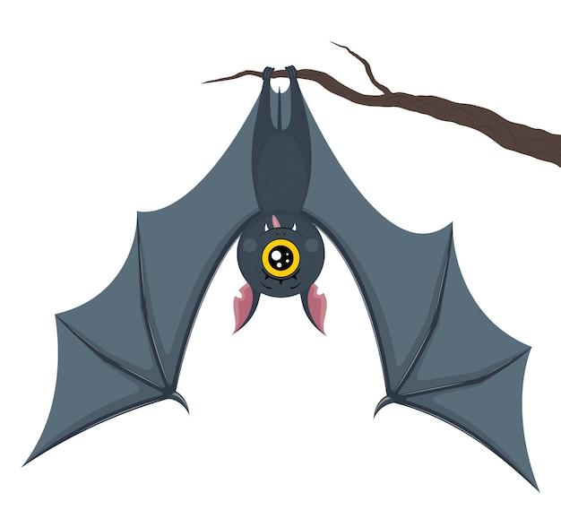 Um morcego cinza escuro está pendurado em um galho. personagem fofa com um olho só. alegre. feliz. ilustração em vetor em um estilo simples. isolado em um fundo branco. para design. dia das bruxas