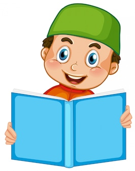Um, muçulmano, menino, leitura, branco, fundo