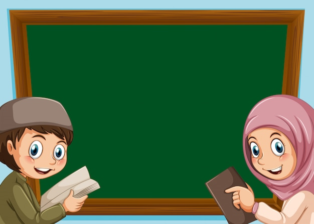 Um, muçulmano, menino menina, tábua