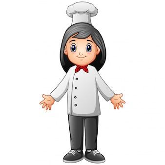 Um, mulher, cozinheiro, caricatura, branco