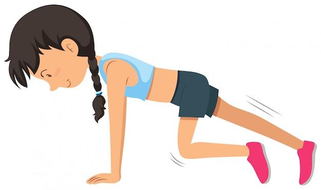 Um, mulher jovem, peso, treinamento, exercício