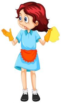 Um, mulher, limpeza, empregada